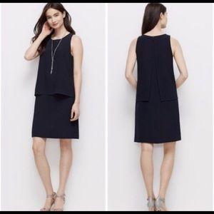 Ann Taylor A-line sleeveless navyblue layer dress